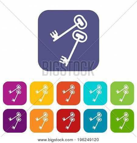 Keys icons set vector illustration in flat style in colors red, blue, green, and other