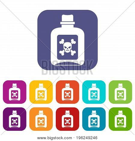 Poison icons set vector illustration in flat style in colors red, blue, green, and other