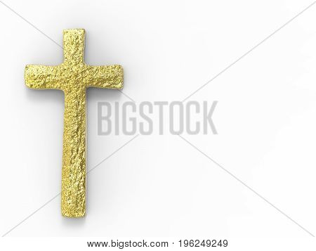 3d rendering gold cross with blank space on white background