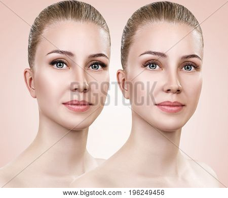 Comparison portrait of woman before and after eyelashes extension.