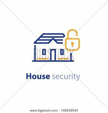 Home security system, lock vector line icon