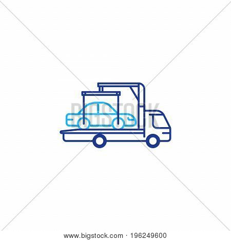 Auto car transportation services, tow truck with crane mono line icon, vehicle relocation vector