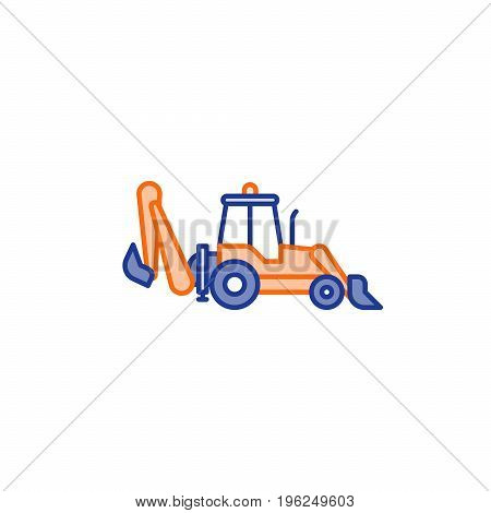 Wheel excavator flat icon, excavation services concept symbol, side view, linear vector