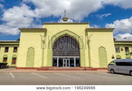 Almaty Kazakhstan - June 11 2017: Old building of Airport of Almaty. It was built in 1936 according to the projects of architect B. Zavarzin and G. Elkin. Now it is the largest international airport in Kazakhstan.