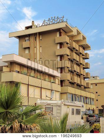 Rimini Italy - June 14 2017: Hotel Ascot in Rimini Emilia-Romagna Italy