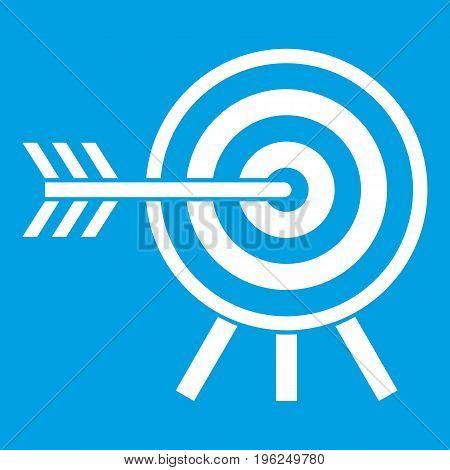 Darts icon white isolated on blue background vector illustration