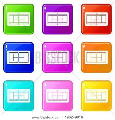 Tennis court icons of 9 color set isolated vector illustration