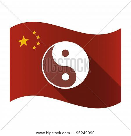 Isolated China Flag With A Ying Yang