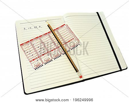Write scores in notebook pencil on white background isolated