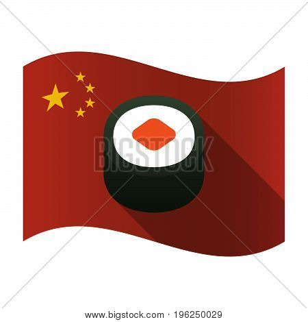 Isolated China Flag With A Piece Of Sushi Maki