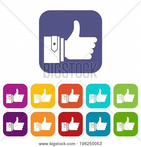 Thumbs up icons set vector illustration in flat style in colors red, blue, green, and other