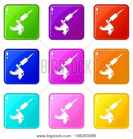 Coil tattoo machine icons of 9 color set isolated vector illustration