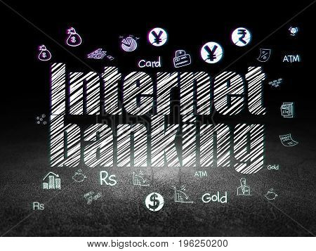 Banking concept: Glowing text Internet Banking,  Hand Drawn Finance Icons in grunge dark room with Dirty Floor, black background
