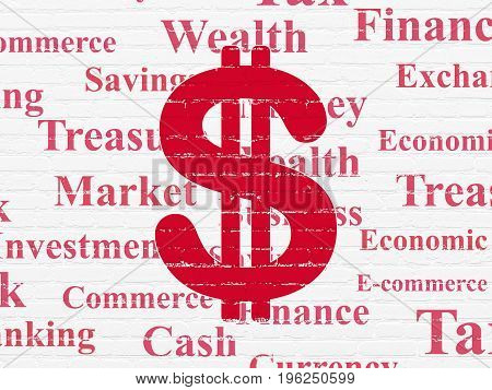 Currency concept: Painted red Dollar icon on White Brick wall background with  Tag Cloud