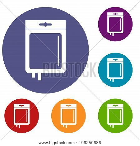 Blood transfusion icons set in flat circle red, blue and green color for web