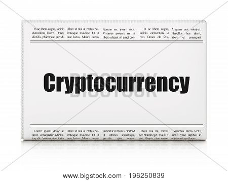 Banking concept: newspaper headline Cryptocurrency on White background, 3D rendering