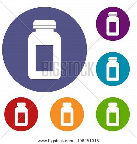 Medicine jar icons set in flat circle red, blue and green color for web