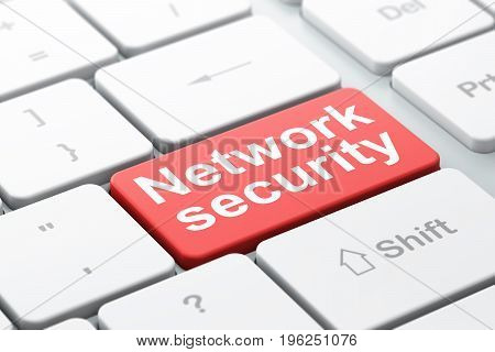 Protection concept: computer keyboard with word Network Security, selected focus on enter button background, 3D rendering