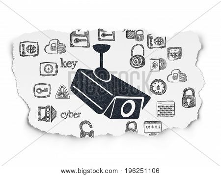 Safety concept: Painted black Cctv Camera icon on Torn Paper background with  Hand Drawn Security Icons