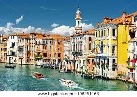 The Grand Canal And Colorful Facades Of Medieval Houses, Venice