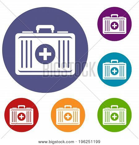 First aid icons set in flat circle red, blue and green color for web