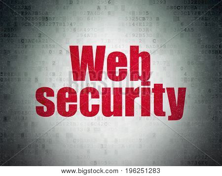 Security concept: Painted red word Web Security on Digital Data Paper background