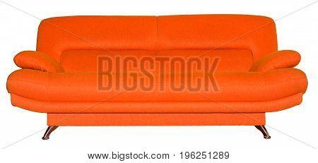Modern fabric orange sofa isolated on white