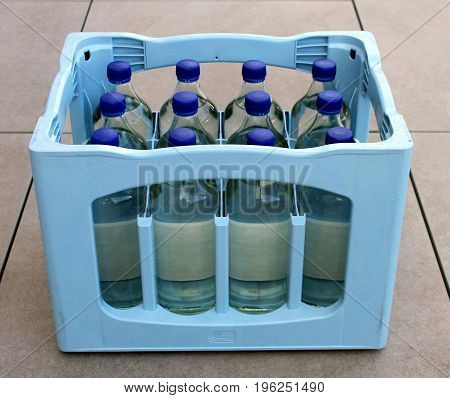 Pure water Box with bottles of clean drinking water Box with bottles of clean drinking water