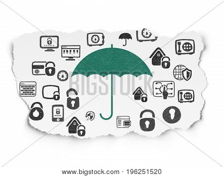 Safety concept: Painted green Umbrella icon on Torn Paper background with  Hand Drawn Security Icons