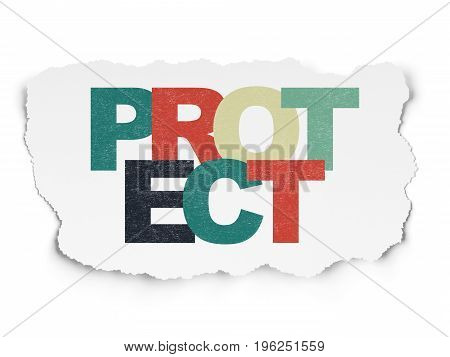Privacy concept: Painted multicolor text Protect on Torn Paper background