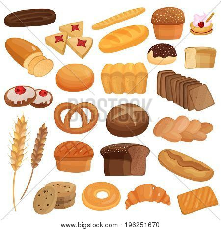 Set of bakery products including wheat and rye bread, spikes, glazed buns, cookies, bagels isolated vector illustration