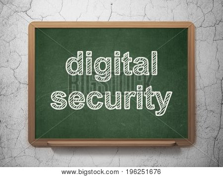 Privacy concept: text Digital Security on Green chalkboard on grunge wall background, 3D rendering