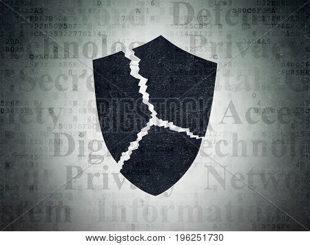 Privacy concept: Painted black Broken Shield icon on Digital Data Paper background with  Tag Cloud