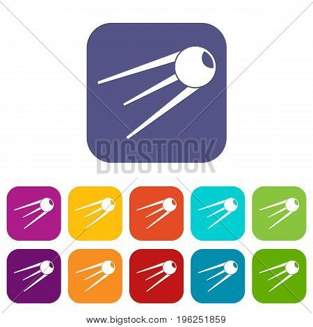 Sputnik icons set vector illustration in flat style in colors red, blue, green, and other