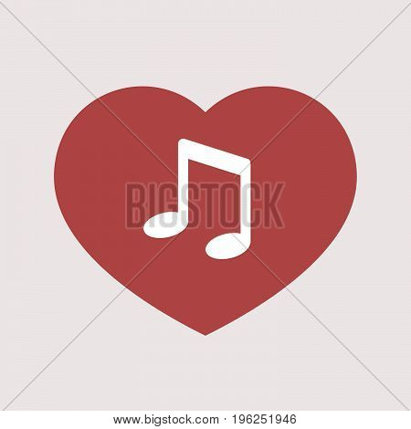 Isolated Heart With A Note Music
