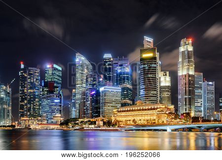 Amazing Night View Of Skyscrapers By Marina Bay, Singapore