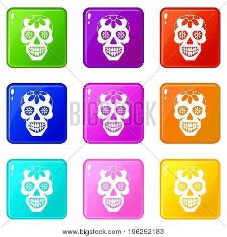 Sugar skull, flowers on the skull icons of 9 color set isolated vector illustration