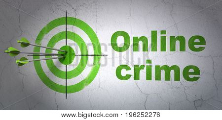 Success safety concept: arrows hitting the center of target, Green Online Crime on wall background, 3D rendering