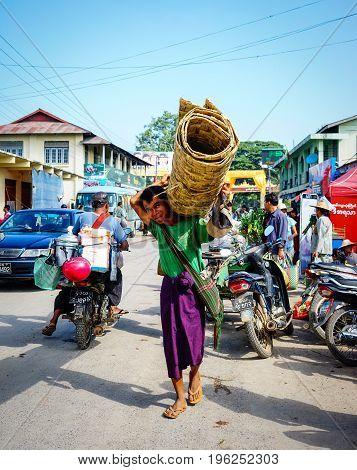 People At A Rural Market In Yangon, Myanmar
