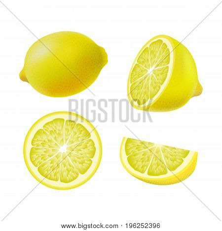 Set of isolated colored lemons half slice circle and whole juicy fruit on white background. Realistic citrus collection
