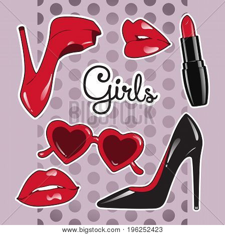Stickers set for girls over cute purple polka dot background. High heeled shoes heart shaped glasses glossy lips lipstick vector illustration.