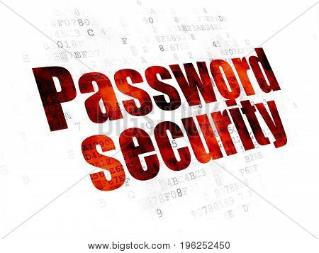 Protection concept: Pixelated red text Password Security on Digital background