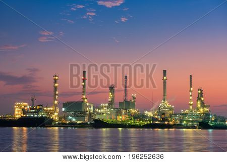 Oil Refinery and Loading dock at Twilight