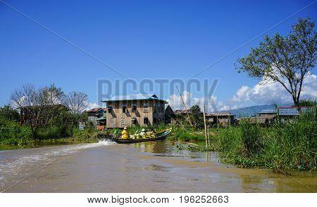 Floating Village On Inle Lake In Myanmar