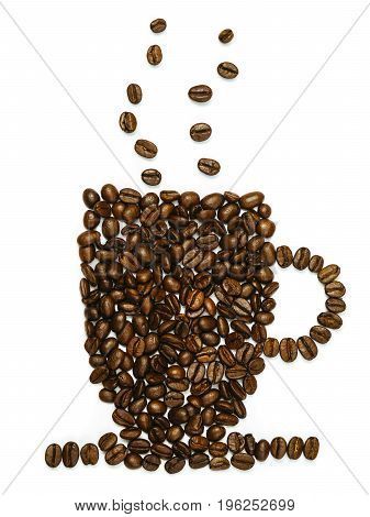 Photo of roasted coffee beans in the shape of a coffee mug.