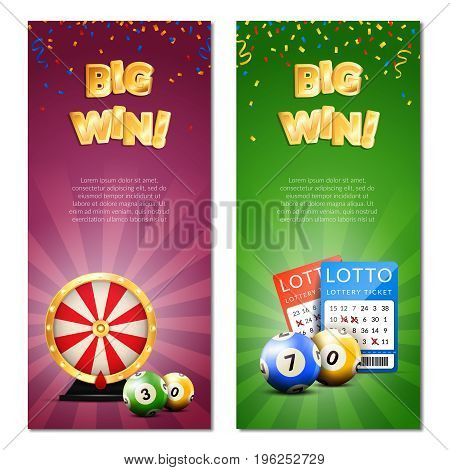 Lottery vertical banners set with decorative images of confetti realistic gaming accessories lottery tickets and editable text vector illustration