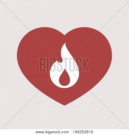 Isolated Heart With A Flame