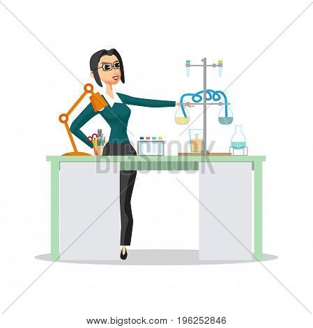 Young female teacher in glasses holds a chemistry lesson in high school. Vector isolated flat cartoon illustration