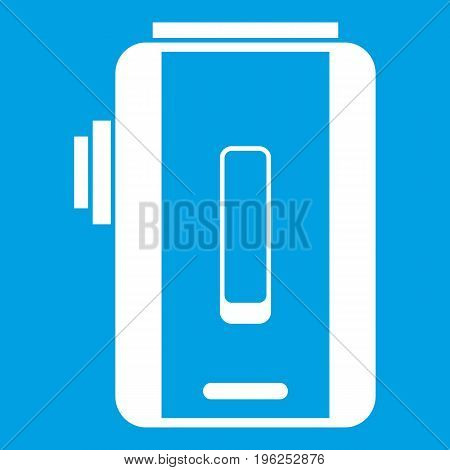 Charger icon white isolated on blue background vector illustration