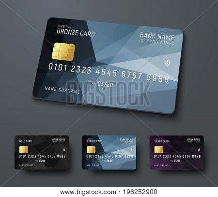 Templates Of Credit (debit) Bank Cards With Black Polygonal Abstract Design Elements